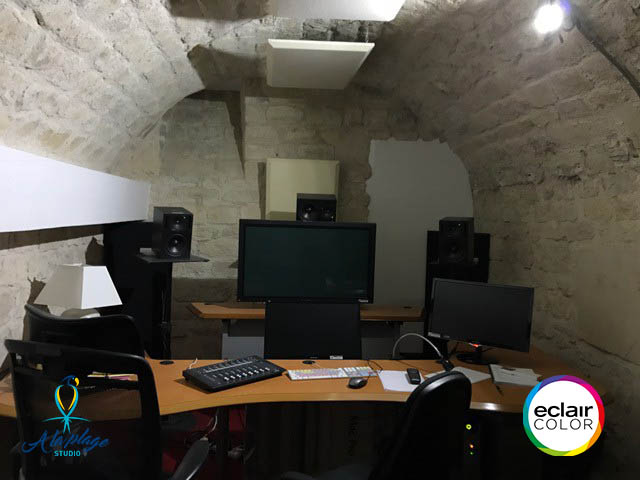 Sound editing room in A la Plage Studio: EclairColor certified